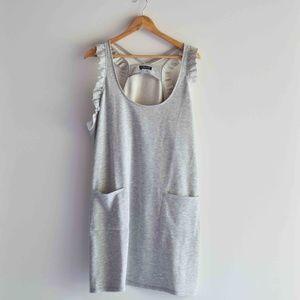 Grey Racerback Grey Dress with Pockets